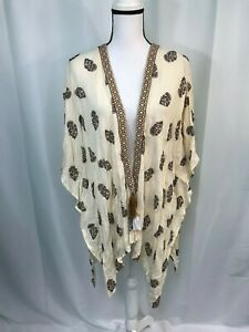 Style-amp-Co-Womens-Beige-Brown-Floral-Print-Open-Front-Kimono-Top-Size-L-NWT