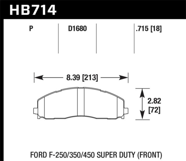 Disc Brake Pad Set-XL Front Hawk Perf HB714P.715