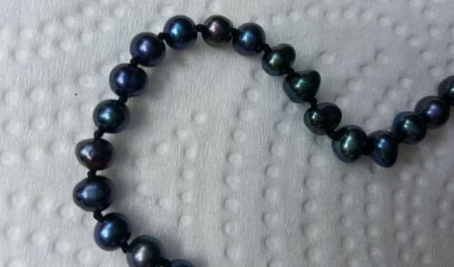 "Black /& Blue Freshwater Seed Pearl /& Sterling Silver Ankle Bracelet 10/""-12/"""