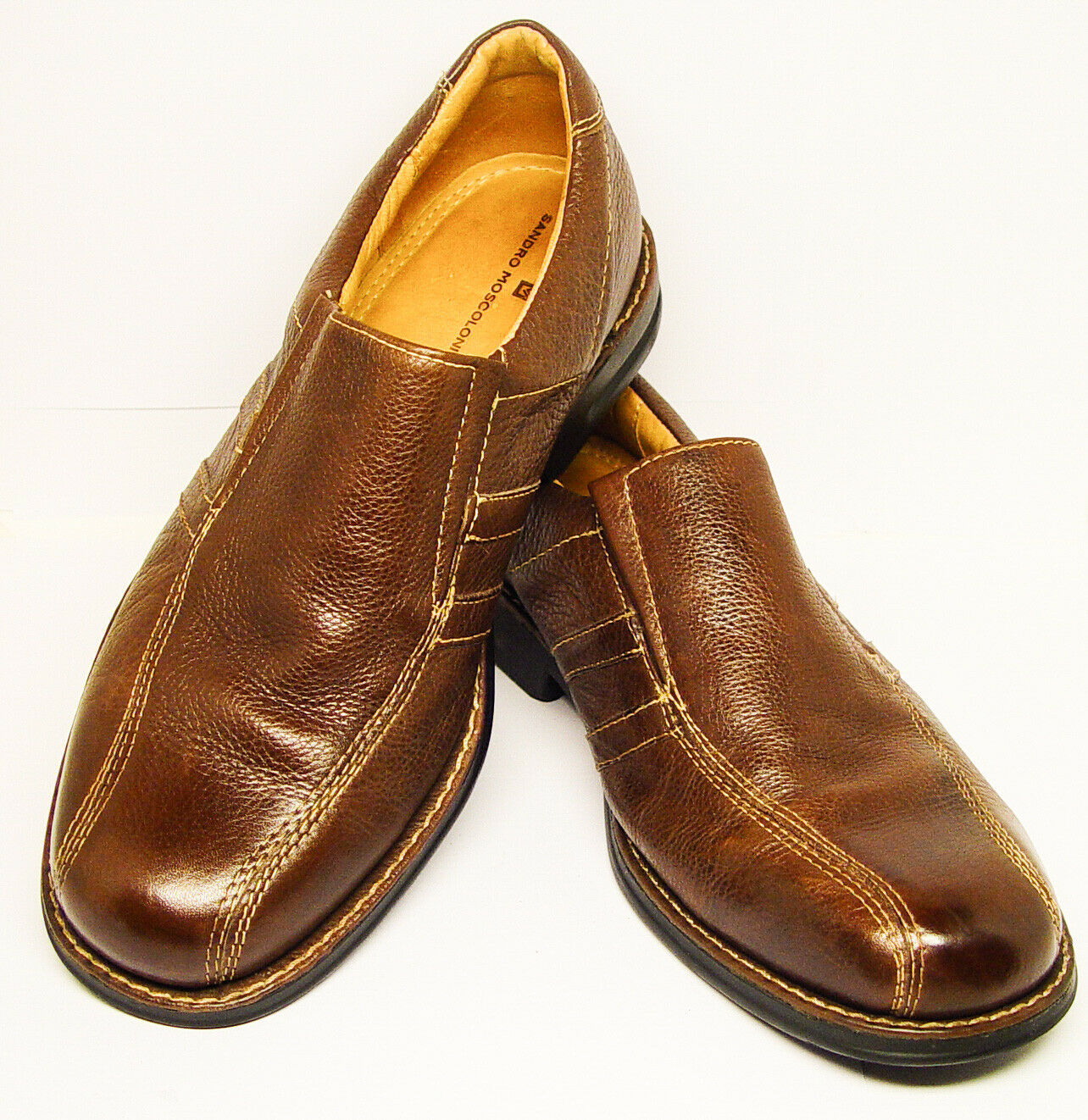Sandro Moscoloni 9.5D brown pebble leather bicycle toe slip on loafer good cond.