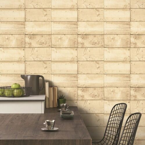 Grandeco Natural Wood Panel Planks Rustic Wallpaper Light Beige Brown Feature