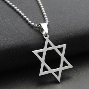 Titanium-Steel-Pendant-Star-of-David-Necklace-Hexagram-Silver-Plated-Chain-Gifts