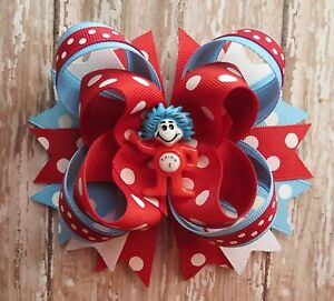 Dr Seuss Thing 1 Or Thing 2 Hair Bow Headband School Red