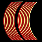 Red Blue Reflective Motorcycle Car RIM Stripe Wheel Decal Tape Sticker 16 Strips