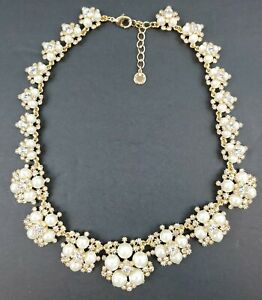 Charter-Club-Gold-Tone-Crystal-Faux-Pearl-Graduated-Flower-Necklace-Ships-Free