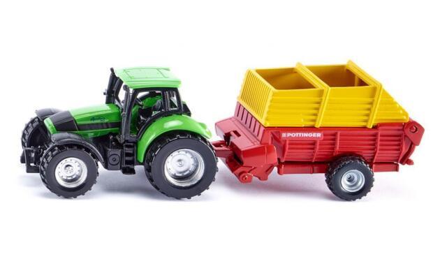 SIKU BLISTER PACK 1676 Agrotron Tractor / Poettinger Loader Wagon Die-cast Model