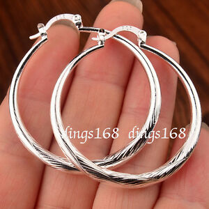 Womens-Gracious-925-Sterling-Silver-45x38mm-Large-Round-Circle-Hoop-Earrings-H19
