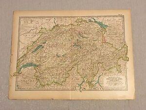 """Original 1897 Switzerland & Liechtenstein Map from The Century Atlas 12"""" x 17"""""""