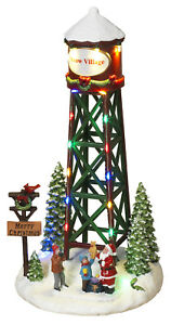 11-8-034-Christmas-Snow-Village-Town-City-Scene-Light-Up-Water-Tower-Collectible