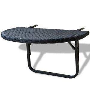 Tavolo Da Esterno Pieghevole.Vidaxl Tavolino Da Balcone In Polirattan Pieghevole Nero Tavolo Da