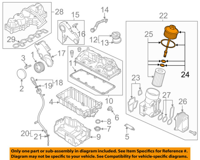 Vw Volkswagen Oem 12 14 Passat Engine Parts Cap 03l115433c For Sale Online Ebay