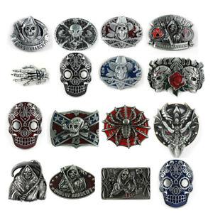 1PC-Halloween-Western-Decor-Antiqued-Bronze-Plated-Cowboy-Skull-Belt-Buckle