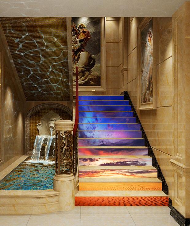 3D Wüste Himmel  53 Stair Risers Dekoration Fototapete Vinyl Aufkleber Tapete DE