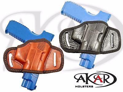 BLACK OR BROWN LEATHER QUICK DRAW BELT SLIDE OWB HOLSTER Heckler /& Koch HK 45