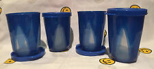 Tupperware NEW Blue Clear Impressions Dessert cup Set 4pc. w/Seals