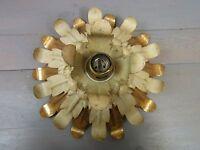 LA2/190 Petite Gilded Flower Calyx Flush Mount Lamp Vintage Mid Century 1950's
