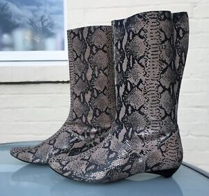 FAITH-Snakeskin-Effect-100-Leather-Boots-Pull-On-UK-6-Gorgeous-Pull-on