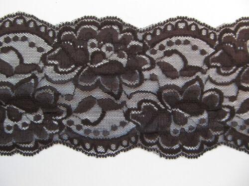 """Floral dentelle bord de pétoncles élastique stretch dentelle 4 /""""noir ou blanc"""