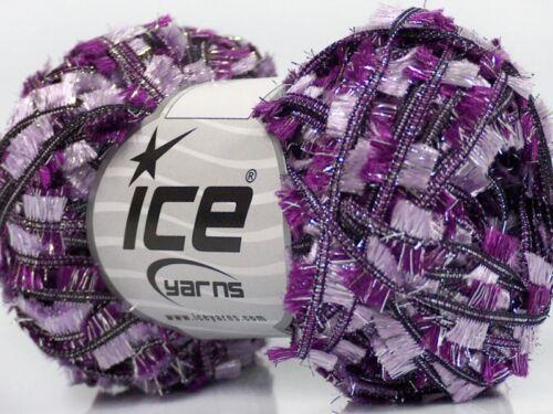 Grape Crush Quinte #45272 Purple Lilac Silver Sparkly Butterfly Flag Yarn 50gram