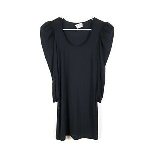 TORN-by-Ronny-Kobo-XS-Black-Puff-Sleeve-Mini-Dress-Fitted-Cocktail-Party-Tight