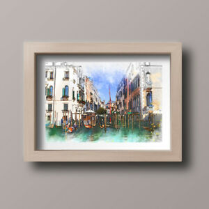 Watercolour-Venice-Italy-Scene-Home-Print-Gift-Wall-Art-A4-Unframed