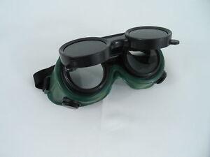 TWO Pair New Welding Cutting Welders Goggles Glasses Flip Up Dark Green Lenses 635309681010