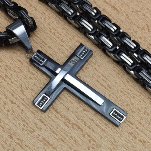 Cross Pendant Necklace Fashion Jewelry Male Gift Trendy Stainless Steel 21.6/'/'