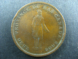 LC-9B4-One-Penny-token-Deux-sous-1837-Bas-Lower-Canada-Quebec-Bank-Breton-521