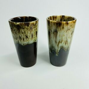 """Vintage Pair of USA Brown Drip Drinking Glasses Frosted Glaze - 5 1/2""""  (SHF)"""