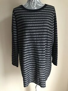 George-Womens-Tunic-Top-Size-20-Navy-Blue-Grey-Striped-Sequinned-Long-Sleeved