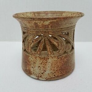 Hand-Thrown-Clay-Pillar-Candle-Holder-Latticed-Fluted-Glazed-5-25x4-5-PRIMATIVE