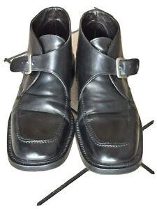 Scarpe-elegante-da-uomo-con-fibia-nere-in-pelle-Tg-43