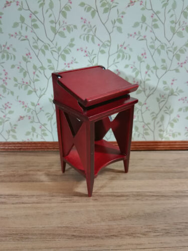 Dollhouse Miniature Standing Library Stand Bookshelf 1:12 Scale Mahogany Finish