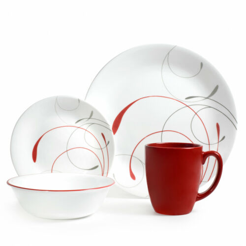 Red White Triple-Layer-Strong Glass Plates /& Bowls 16-Pcs Home Dinnerware