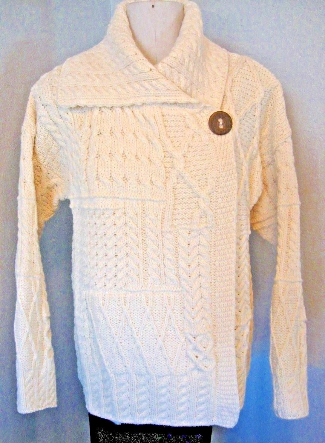 Carriag Donn Wool Sweater Sz. Extra Large Fisherman Knit Off White  D