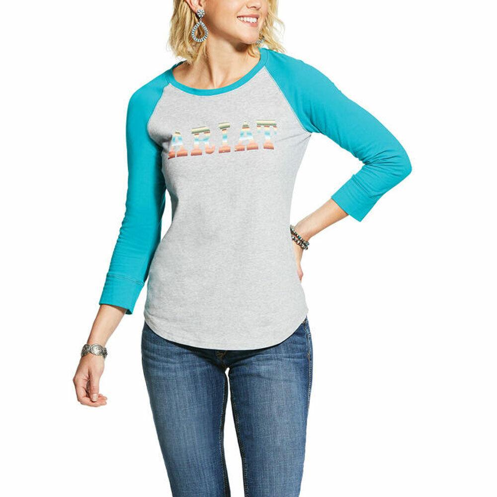10030665 Ariat Women's Real Ariat Logo T-shirt De Baseball Gris/turquoise Neuf