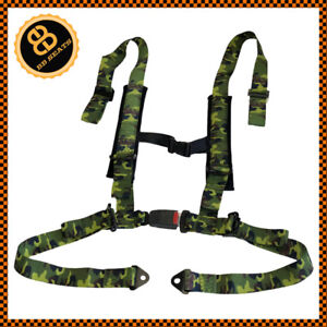 4 Point Camo Camouflage Racing Seat Belt Harness Universal Design