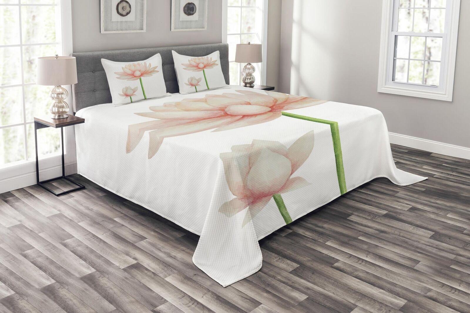 Yoga Quilted Bedspread & Pillow Pillow Pillow Shams Set, Pastel Blooming Lotus Print 0cddaa