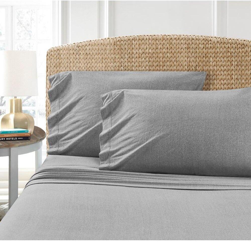 Bed Sheets King Größe grau Jersey Cotton Blend T-Shirt Bedding Linen Accent