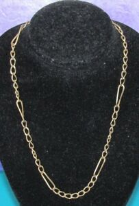 VINTAGE-9ct-YELLOW-GOLD-FIGARO-STYLE-CHAIN-46-5cm-6-5g