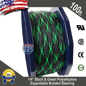 "100 FT 1/4"" Black & Green Expandable Wire Sleeving Sheathing Braided Loom Tubing"