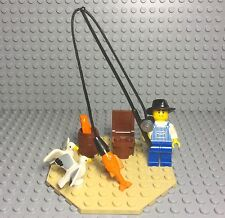 Lego Mini Figure With Fishing Rod,seagull,fish,barrel ~fun Fishing Trip Display~