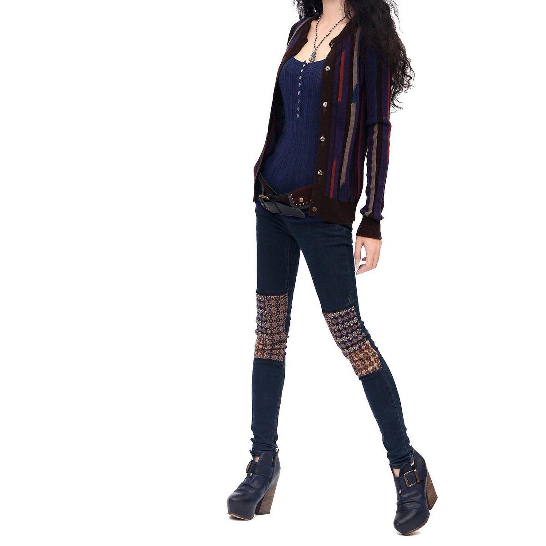NWT ARTKA Embroidered Knee Bohemian Jeans  Stretchy Sz 28