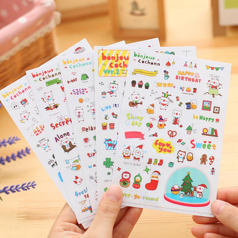 Sweet Cute 6 Pcs Calendar Photo Paper Sticker Scrapbook Diary Planner DIY Decor