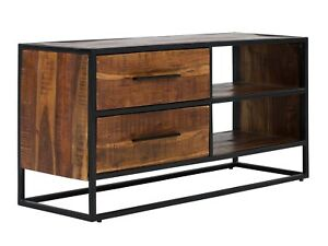 tv bank lowboard 2 schubladen schrank metall holz akazie. Black Bedroom Furniture Sets. Home Design Ideas