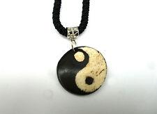 Ying Yang Anhänger Schmuckband Yak Knochen Bone Nepal Tibet Halsband Holzperlen