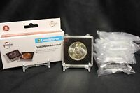6 Half Dollar 2x2 Coin Snaplock Capsule 30mm Quadrum Intercept + Display Stands