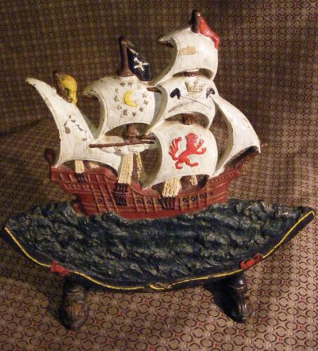 VINTAGE ANTIQUE HEAVY CAST IRON PIRATE SHIP SAILING BOAT DOOR STOP PAINTED