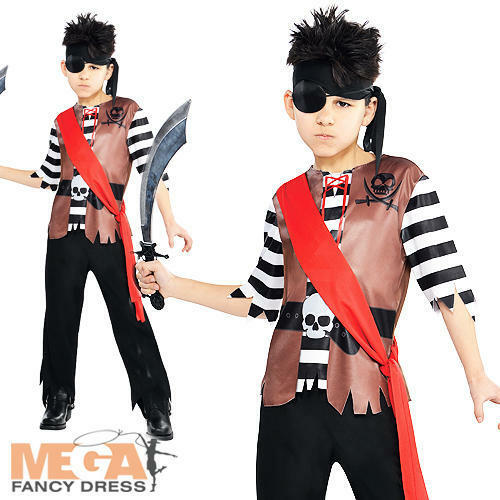 Ahoy Pirate Captain Boys Fancy Dress Buccaneer Shipmate Book Week Kids Costume