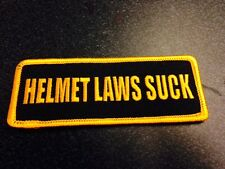 """HELMET LAWS SUCK BIKER PATCHES, GOLD BOARDER 4"""" X 1.5"""", MOTORCYCLE CLUB PATCHES"""